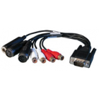 Analog Breakout Cable, unbalanced (BO9632-CMKH) Sub-D 15-pin to 4 x Cinch Analog, 2 x MIDI, 1 x Phones for HDSP 9632 and HDSPe AIO